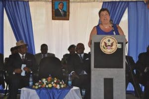 Picture of Ambassador Virginia Palmer making her speech during the official launch of the project.