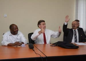 Picture of H.E Ambassador Symington (center) gives thumbs up sign to IITA to the excitement of DG Sanginga (left) and DDG Dashiell (right).