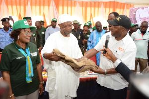 Picture of Deputy Governor, Osun State, Mrs Titilayo Laoye-Tomori; Governor of Osun State, Rauf Aregbesola; and Director General of IITA, Dr Nteranya Sanginga at the commissioning of IITA Research and Training Farm in Ago Owu, Osun State