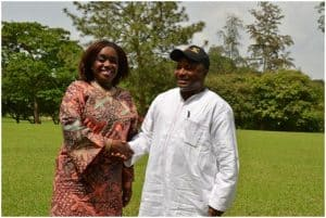 Picture of IITA Director General Nteranya Sanginga (right) welcomes the Nigerian Minister of Finance, the Hon. Kemi Adeosun (left) to IITA, Ibadan.