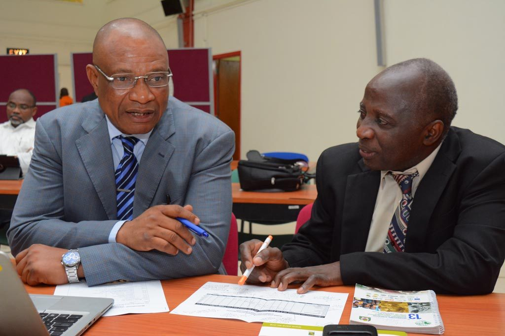 Picture of Jonas Chianu, Principal Agricultural Economist, AfDB and Chyrs Akem, SARD-SC Project Coordinator