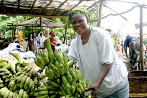 Picture of woman holding banana