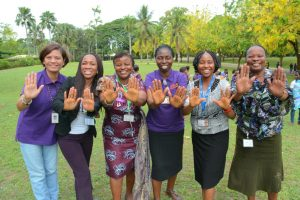 "Picture of IITA staff show support for ""pushing for progress"" for women's parity during the IWD 2018 celebration"