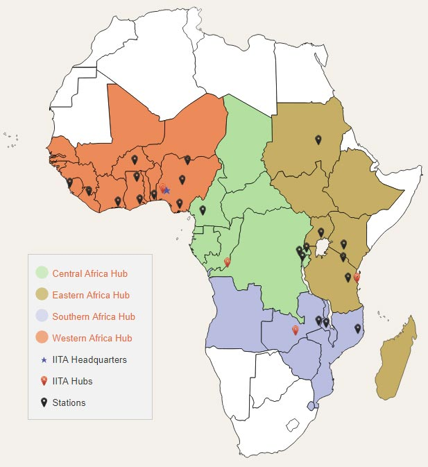 Picture of IITA hubs and stations in Africa