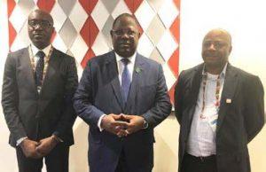 Picture of L-R The Gabon Minister of Agriculture, Biendi Maganga-Moussavou; the Prime Minister, Emmanuel Issoze-Ngondet, and IITA DG Nteranya Sanginga.