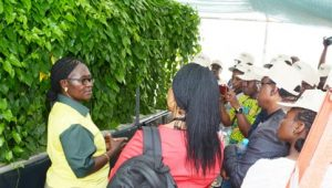 Picture of Beatrice Aighewi, YIIFSWA-II Seed Specialist, talking to the participants during the tour