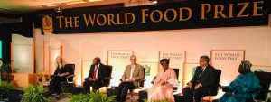 Picture of DG Nteranya Sanginga serving as a panel member at a session in the World Food Prize 2018 in Des Moines, Iowa