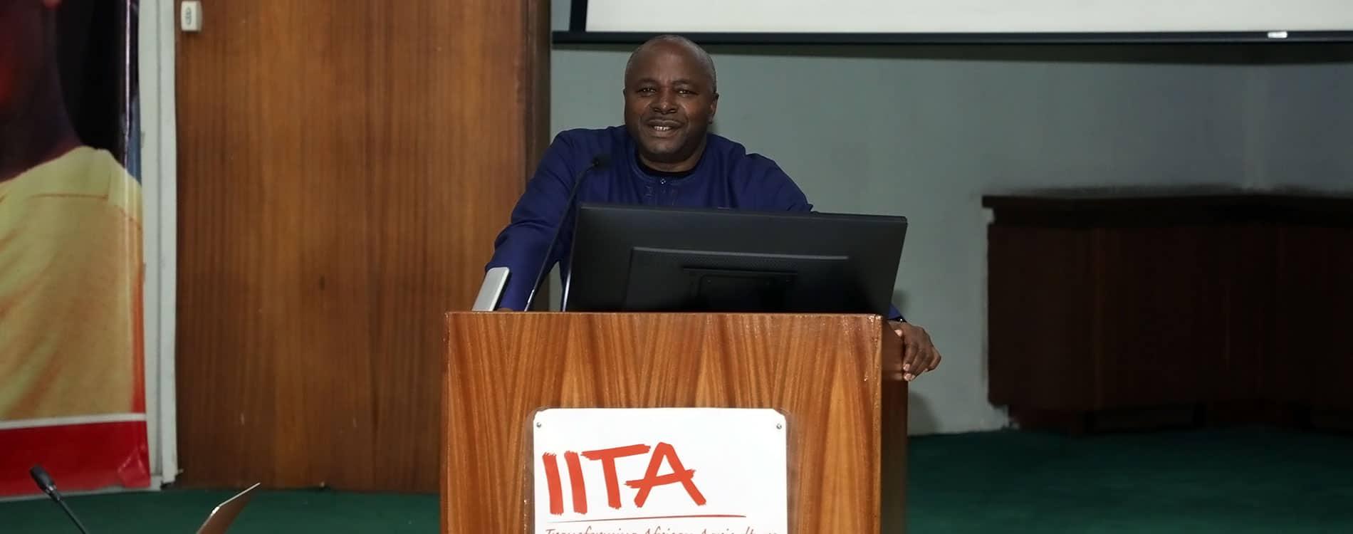IITA-Director-General,-Dr Nteranya Sanginga speaking at the Launch of BASICS-II