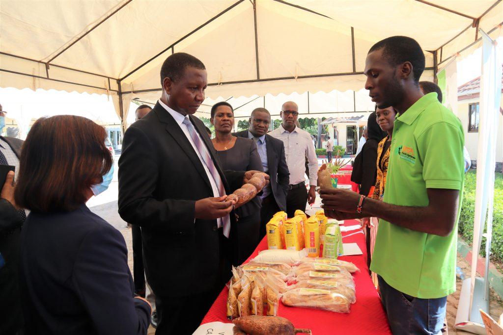 Former IITA agripreneur, Edwin Ndibalema, explaining to the Minister the cassava root waxing technology.